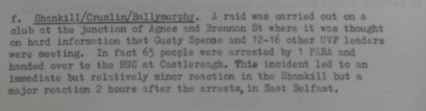 "Arrest of Gusty Spence on ""hard information"""