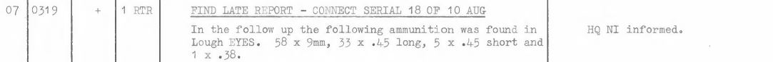 3 Brigade Operations Log 13th August 1974 re Patsy Kelly