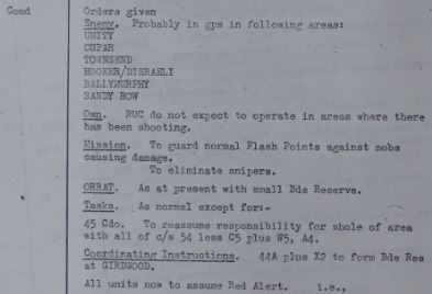 British Army Operational Orders on 27th June 1970